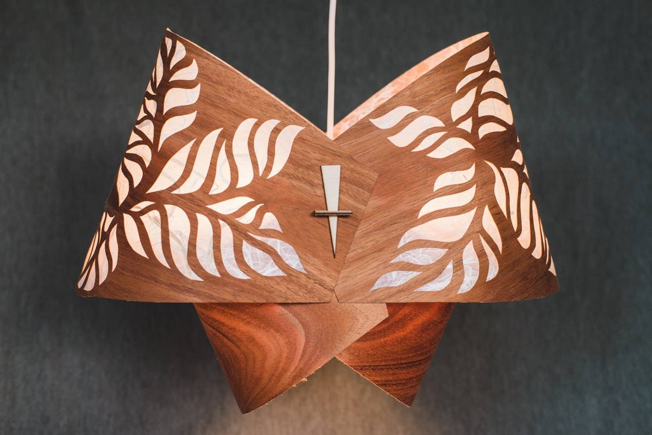 Wood Pendant Light Ceiling Light Fixture Wood Lamp Shade with regard to Wood Veneer Pendants (Image 12 of 15)