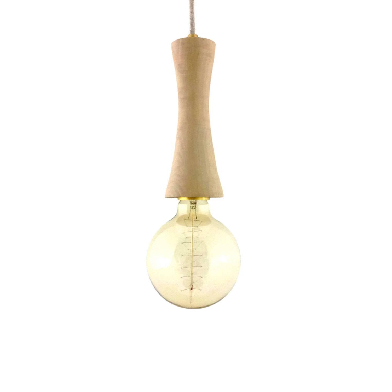 Wood Pendant Light Hand Turned Minimal Design Lights Hanging throughout Etsy Pendant Lights (Image 15 of 15)