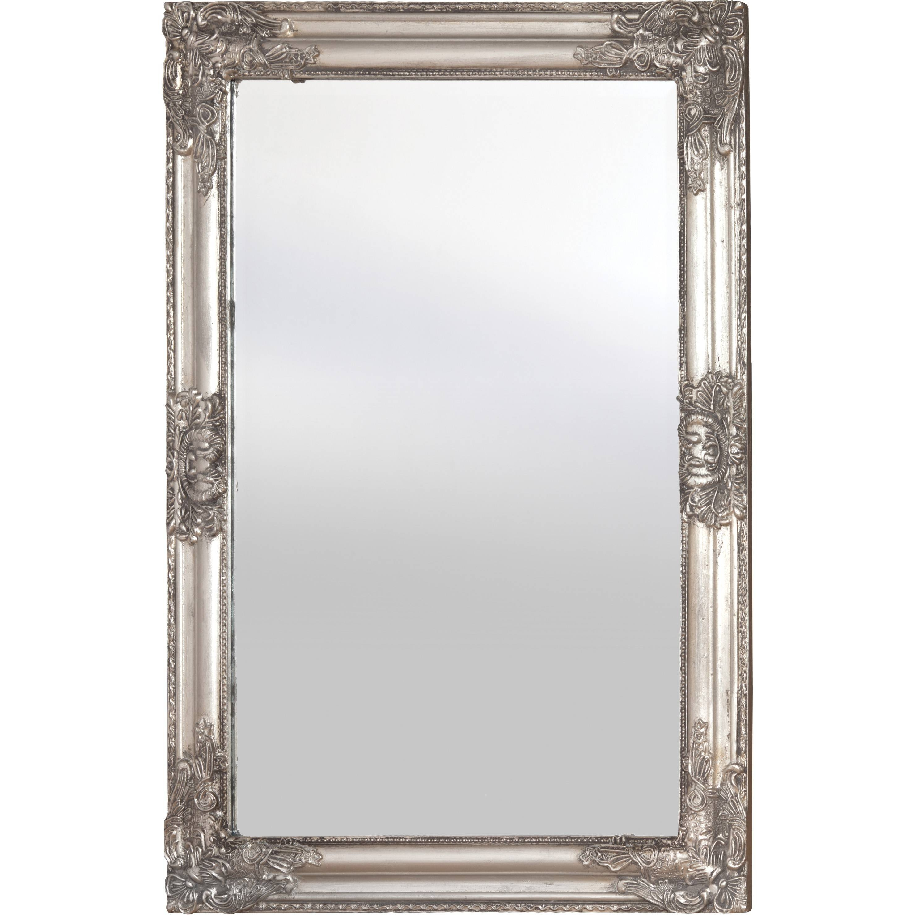 Wooden Frame Mirror (Silver) throughout Large Silver Vintage Mirrors (Image 15 of 15)