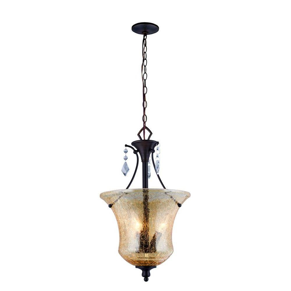 World Imports Ethelyn Collection 3-Light Oil Rubbed Bronze Pendant within Oiled Bronze Pendant Lights (Image 15 of 15)