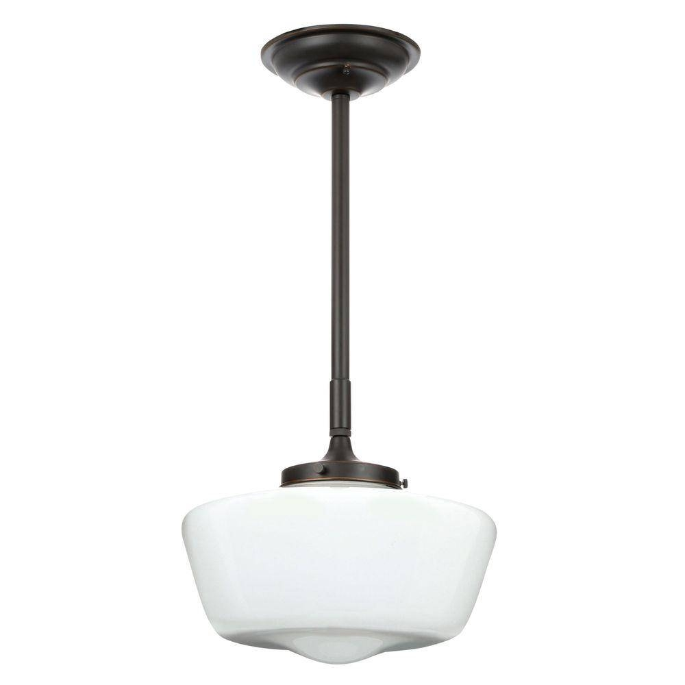 World Imports Luray Collection 1-Light Oil-Rubbed Bronze Pendant regarding Schoolhouse Pendant Lights Fixtures (Image 15 of 15)