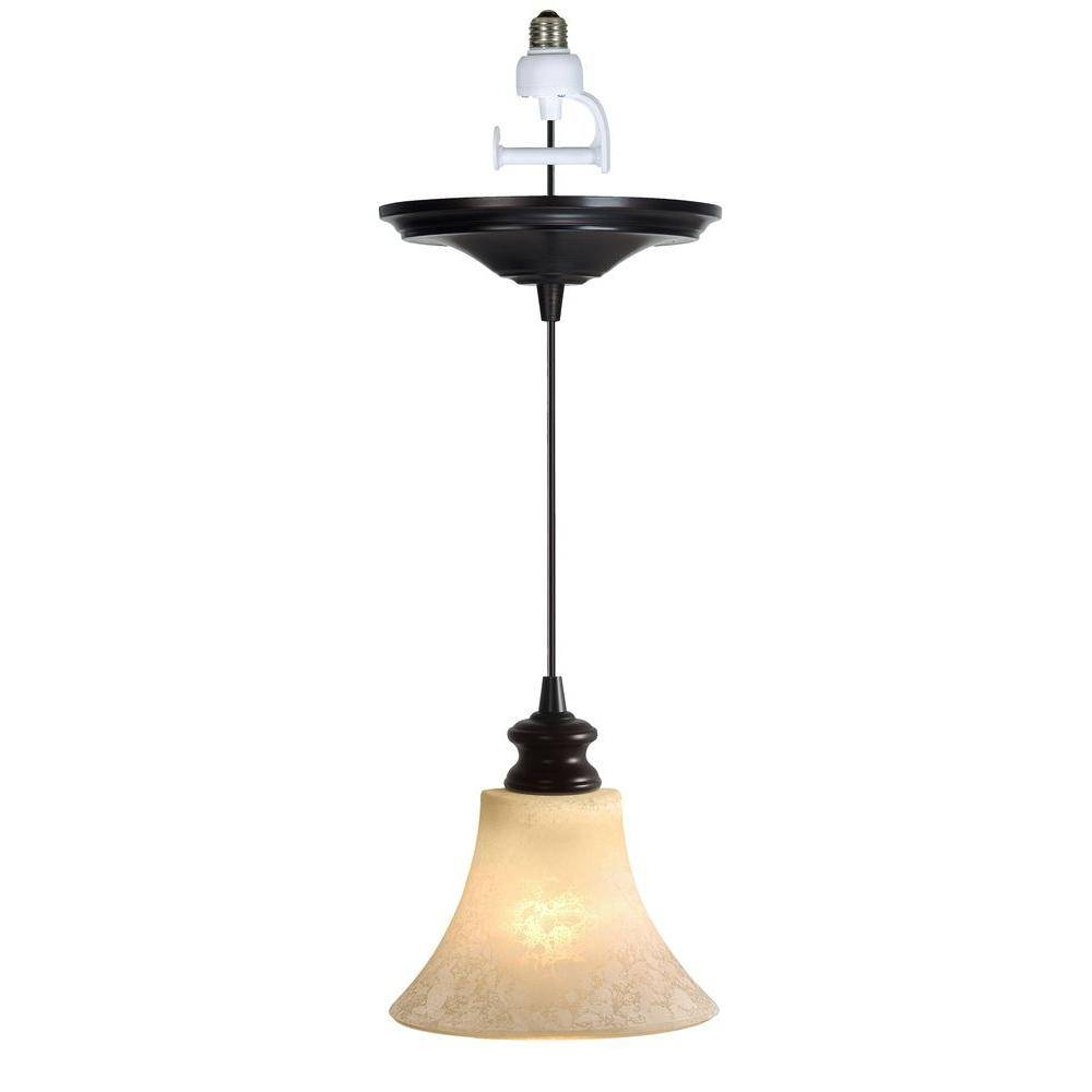 Worth Home Products Instant Pendant Series 1 Light Brushed Bronze In Screw In Pendant Lights Fixtures (View 11 of 15)