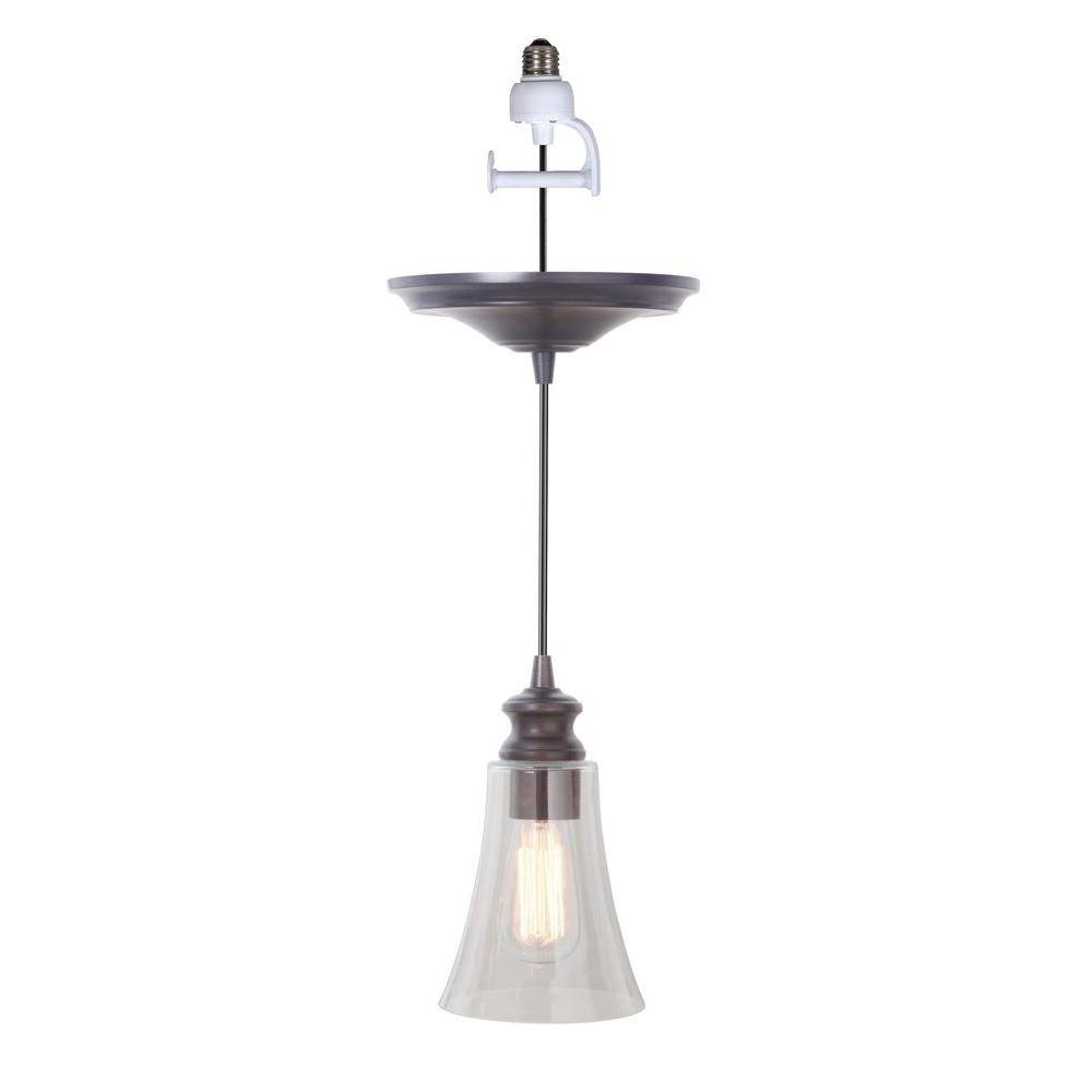 Worth Home Products Instant Pendant Series 1 Light Brushed Bronze Regarding Recessed Lights Pendants (View 14 of 15)
