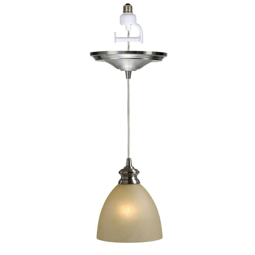 Worth Home Products Instant Pendant Series 1 Light Brushed Nickel In Screw In Pendant Lights Fixtures (View 12 of 15)