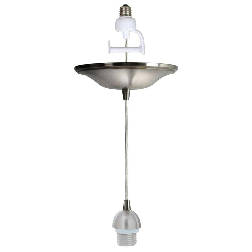 Worth Home Products Instant Pendant Series 1 Light Brushed Nickel In Screw In Pendant Lights (View 5 of 15)