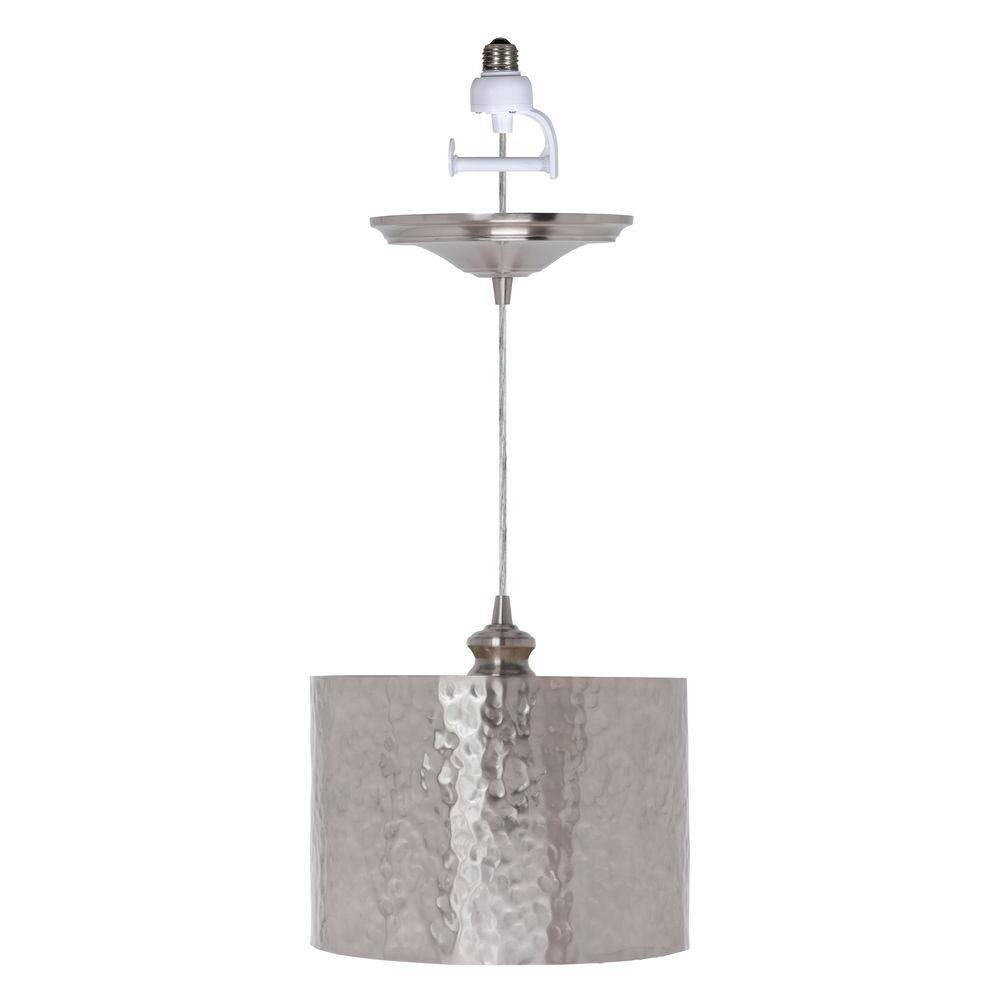 Worth Home Products Instant Pendant Series 1-Light Brushed Nickel pertaining to Hammered Pendant Lights (Image 15 of 15)