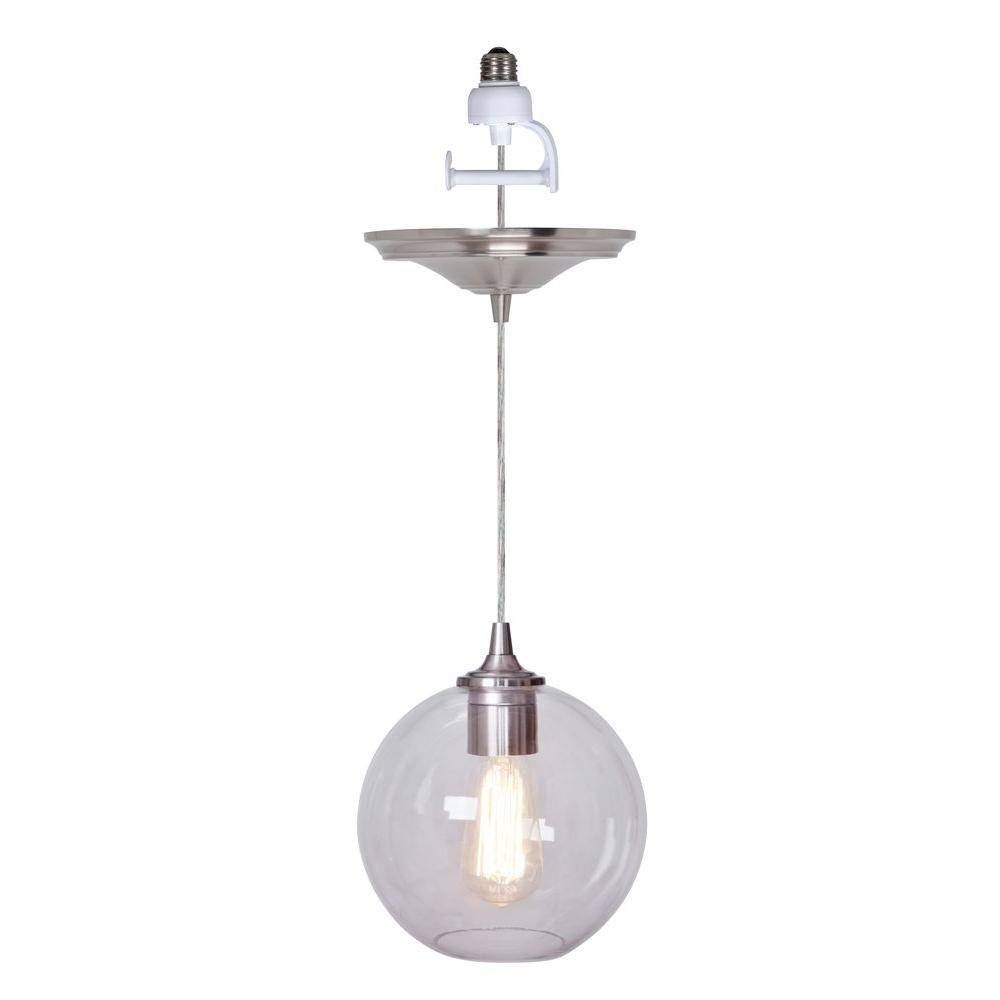 Worth Home Products Instant Pendant Series 1 Light Brushed Nickel With Regard To Pendant Lights Conversion Kits (View 12 of 15)