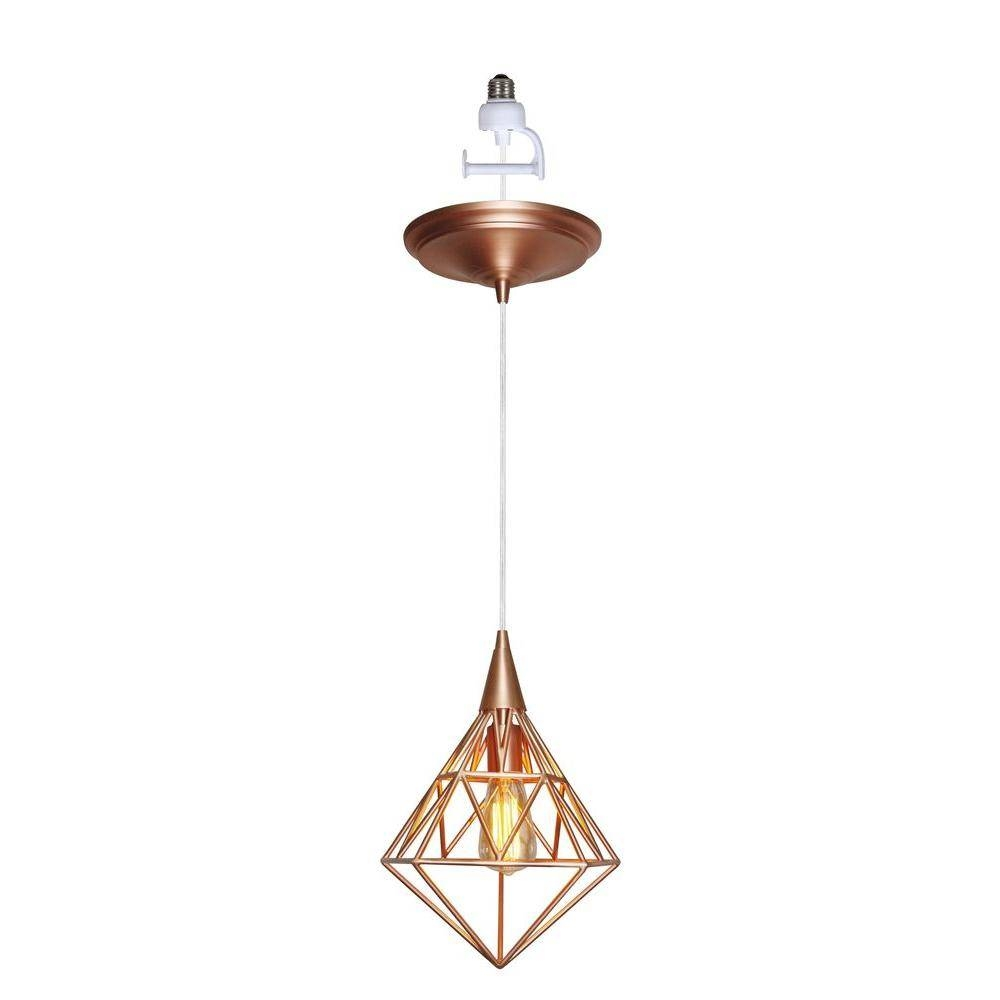 Worth Home Products Instant Pendant Series 1 Light Copper Recessed Pertaining To Screw In Pendant Lights Fixtures (View 13 of 15)