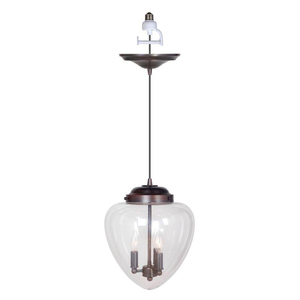 Worth Home Products Instant Pendant Series 3 Lights Brushed Bronze Inside Pendant Lights Conversion Kits (View 9 of 15)
