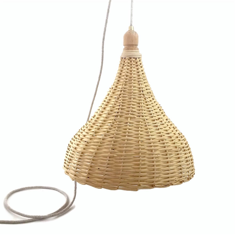 Woven Wicker Basket Lamp Large Handmade Pendant Light Natural intended for Rattan Pendant Lighting (Image 15 of 15)