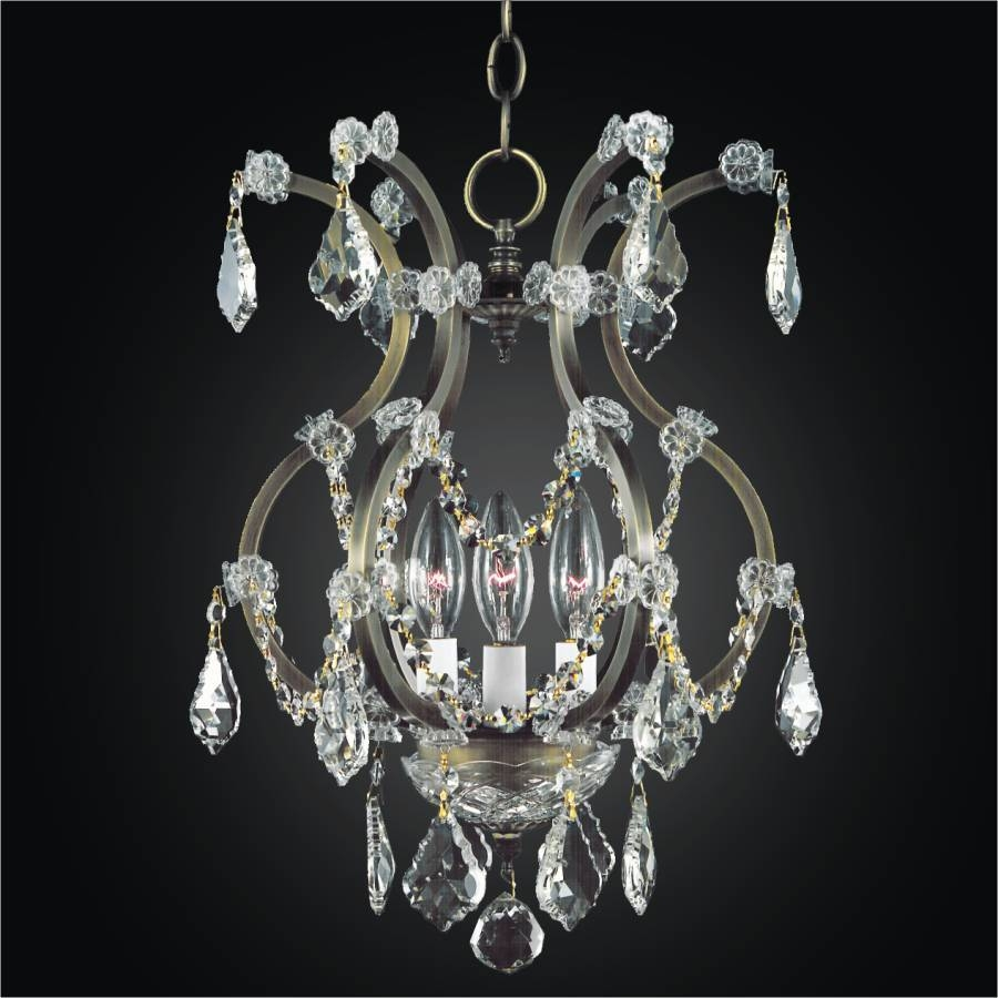 Wrought Iron 3 Light Crystal Mini Chandelier | Old World Iron 543 intended for Old World Pendant Lighting (Image 15 of 15)