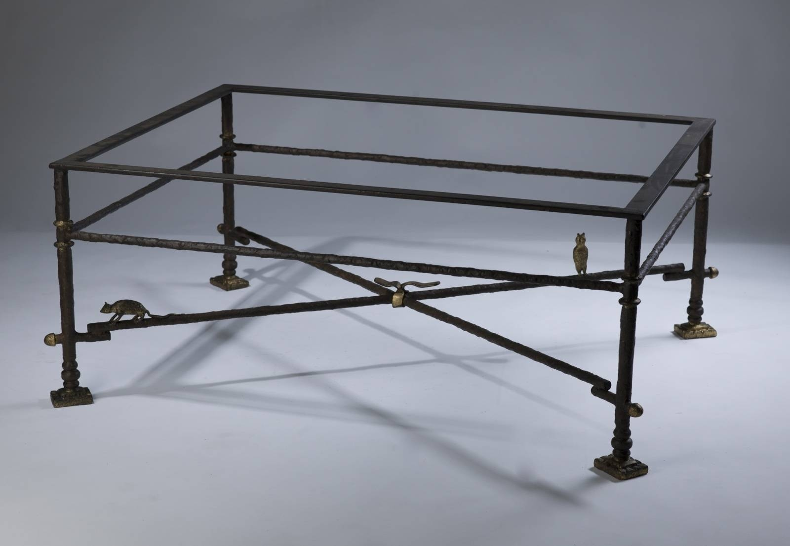 Wrought Iron Coffee Table In Brown Bronze, Distressed Gold In Iron Glass Coffee Table (View 13 of 15)