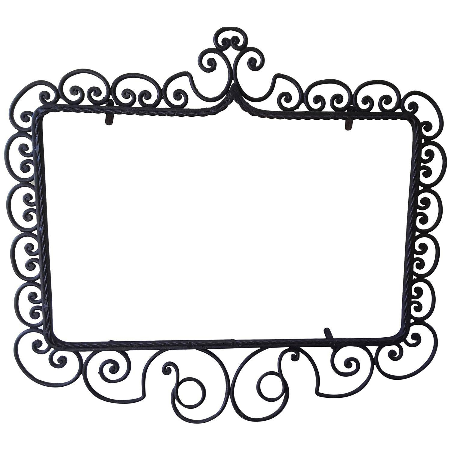 Wrought Iron Mirror/picture Frame, Hand-Forged, Late Victorian in Black Victorian Style Mirrors (Image 15 of 15)