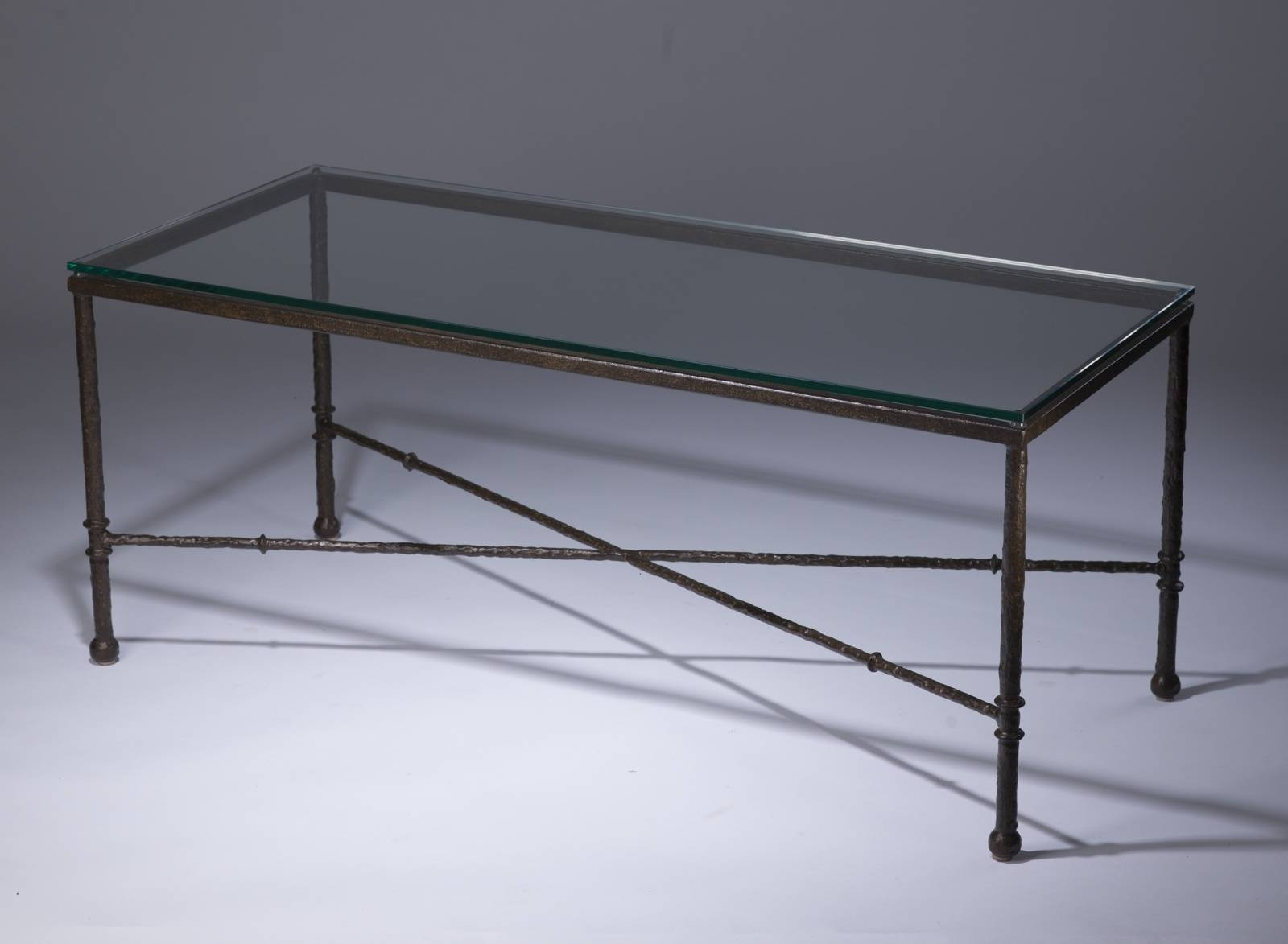 Wrought Iron 'simple' Coffee Table In Brown Bronze Finish With regarding Iron Glass Coffee Table (Image 12 of 15)