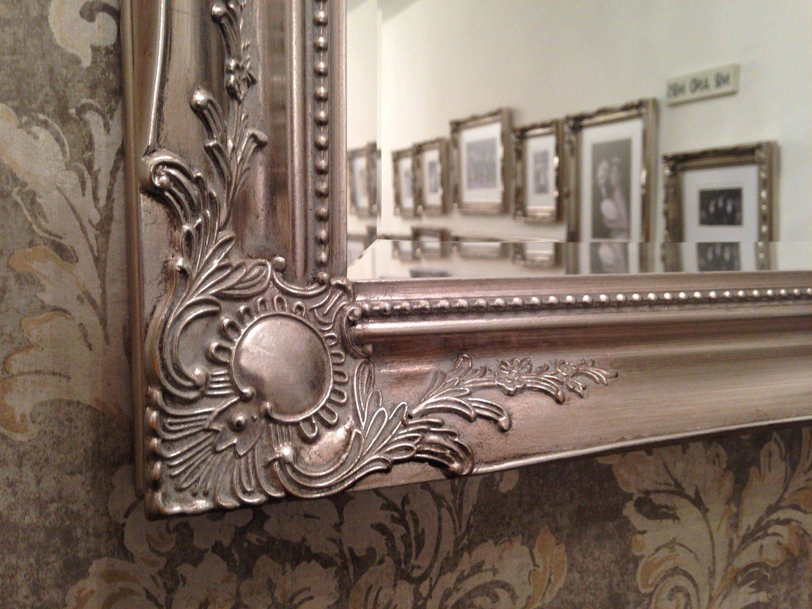 X Large Antique Silver Shabby Chic Ornate Decorative Wall Mirror within Large Antique Silver Mirrors (Image 15 of 15)