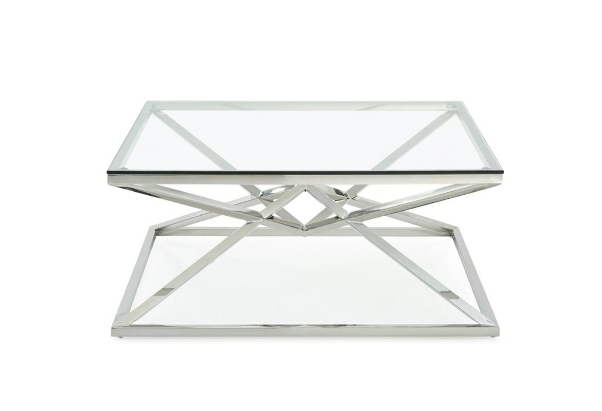 Xander Modern Square Glass Coffee Table intended for Square Glass Coffee Table (Image 15 of 15)