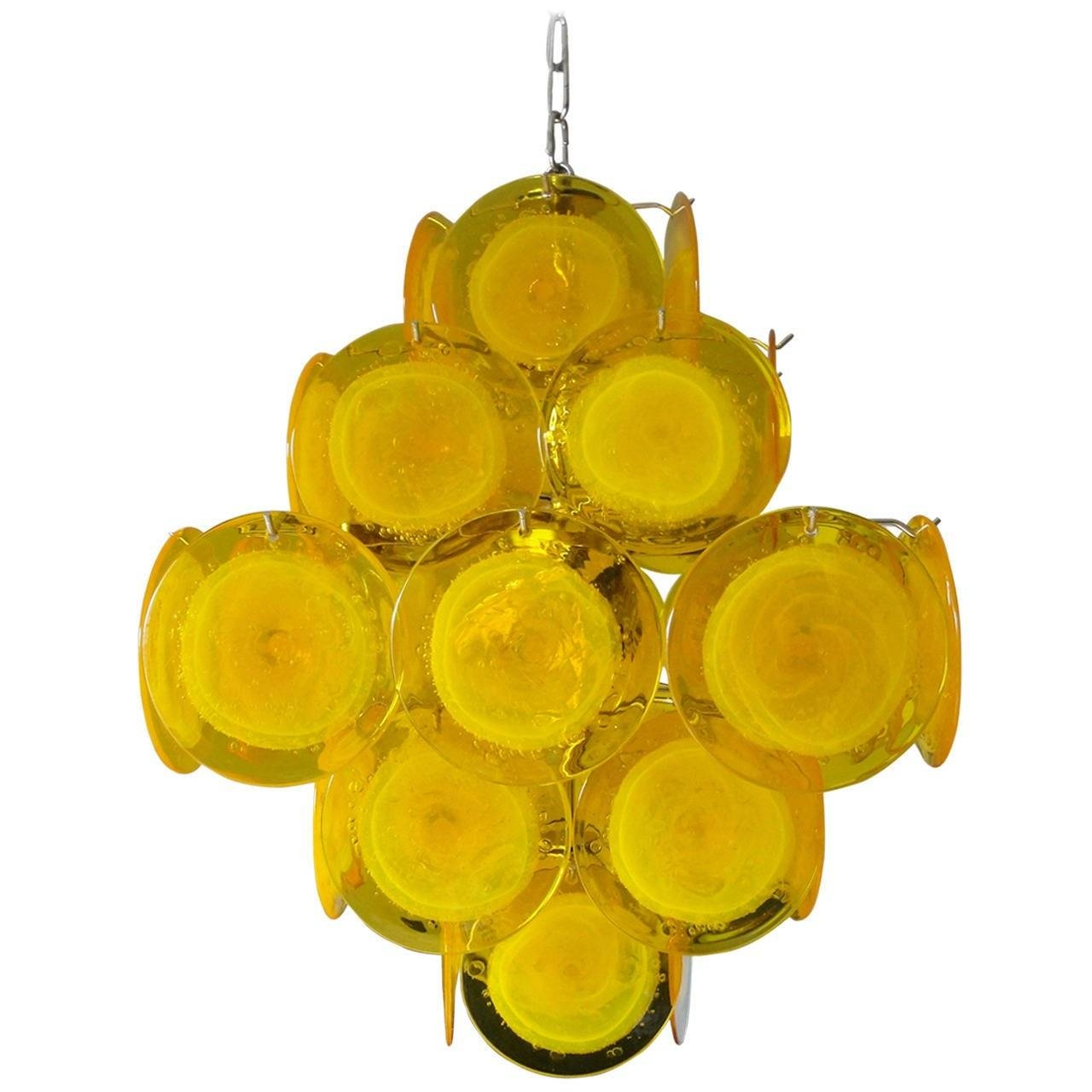 Yellow Murano Glass Chandelier For Sale At 1Stdibs Intended For Murano Glass Pendant Lights (Photo 14 of 15)