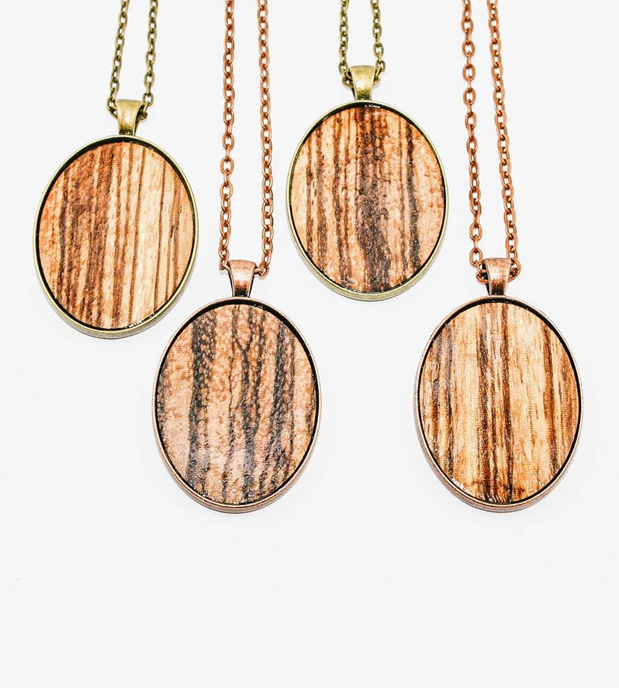 Zebra Wood Veneer Oval Pendant Necklace | Jewelry Necklaces | Once throughout Wood Veneer Pendants (Image 14 of 15)