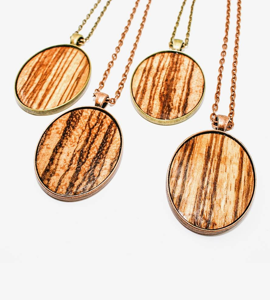 Zebra Wood Veneer Oval Pendant Necklace | Jewelry Necklaces | Once within Wood Veneer Pendants (Image 15 of 15)