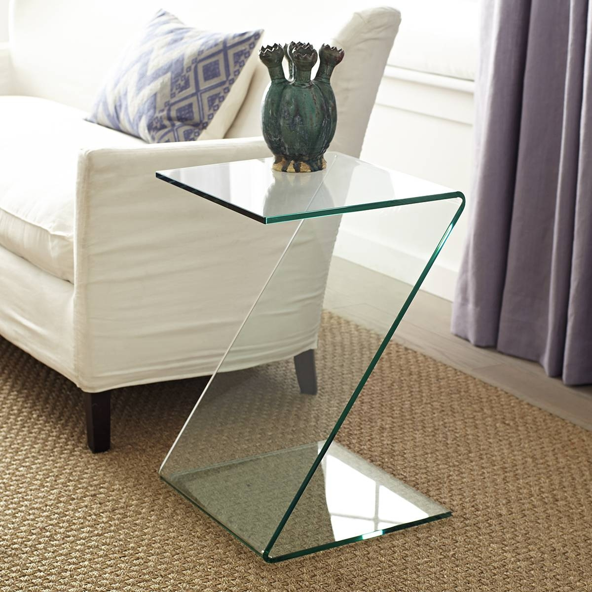 Zigzag Glass Table with Thick Glass Coffee Table (Image 15 of 15)