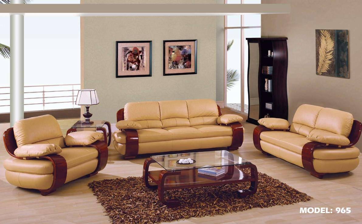 Zonka Tufted Leather Sofa Set Modern Living Room Furniture Sets in Living Room Sofas and Chairs (Image 15 of 15)