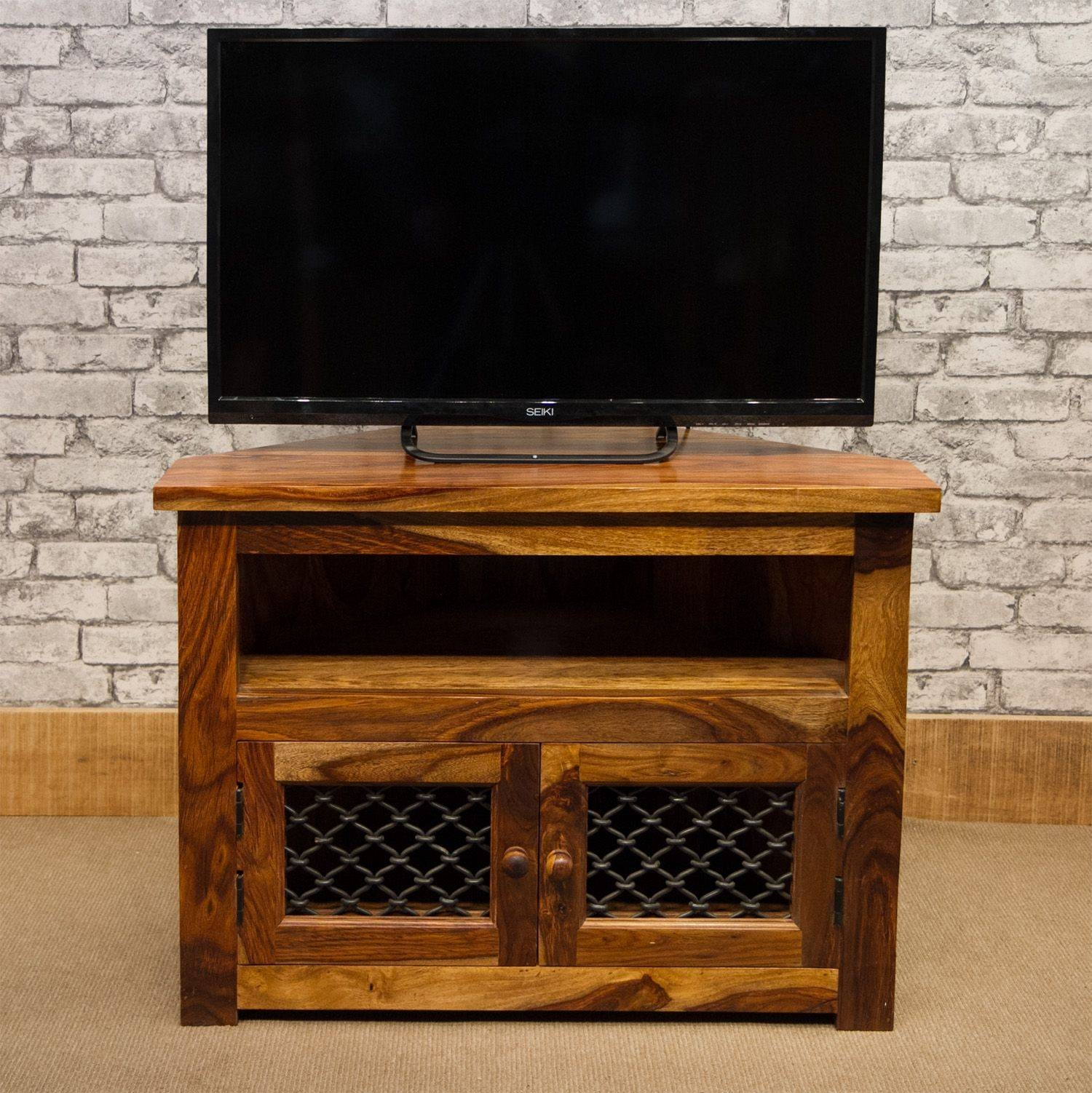 12 Jali 80Cm Corner Tv Cabinet With Jali Doors regarding Jali Tv Cabinets (Image 1 of 15)