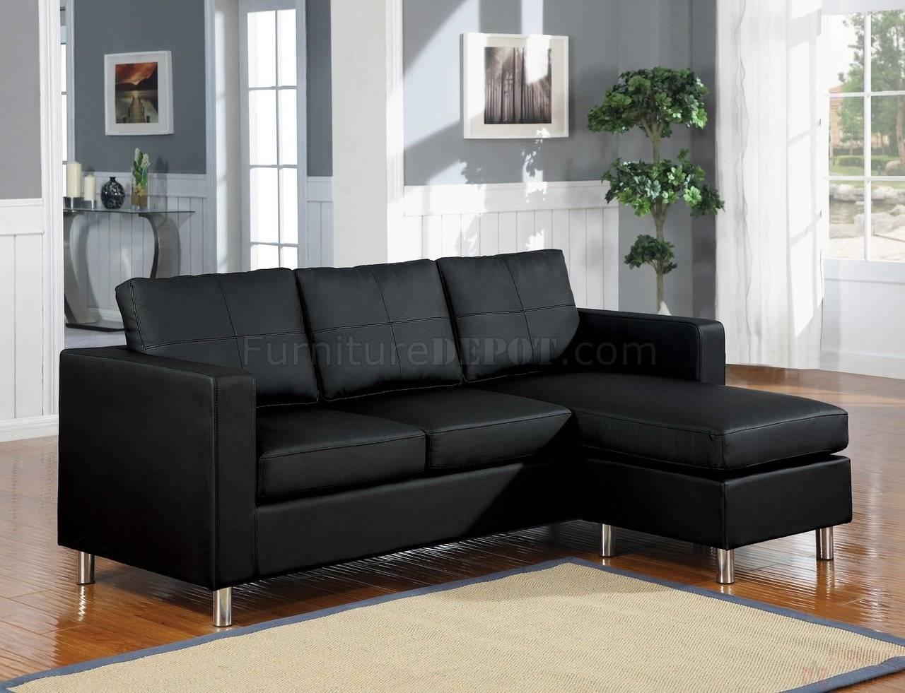 15065 Kemen Sectional Sofa In Black Vinylacme throughout Black Vinyl Sofas (Image 2 of 15)
