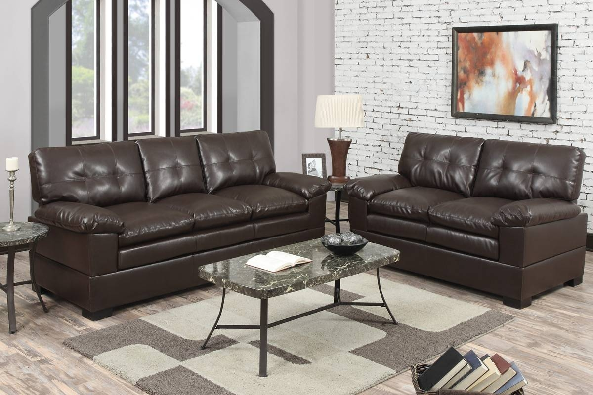 2 Piece Espresso Bonded Leather Sofapoundex- F7360 with 2 Piece Sofas (Image 1 of 15)