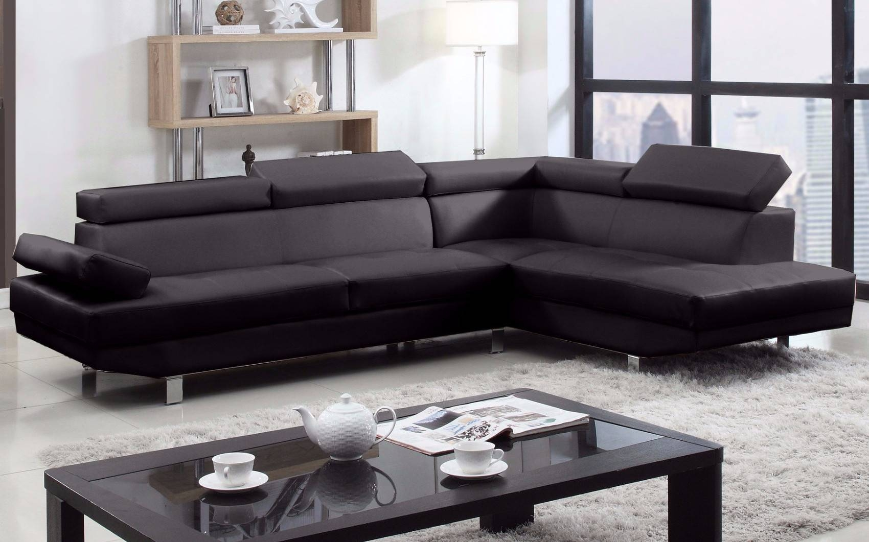 2 Piece Modern Bonded Leather Right Facing Chaise Sectional Sofa Throughout Black Leather Chaise Sofas (View 2 of 15)