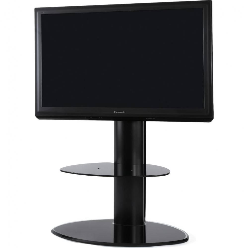 2 Shelf Slim Black Flatscreen Tv Stand W/ Mount Bracket regarding Slimline Tv Cabinets (Image 1 of 15)