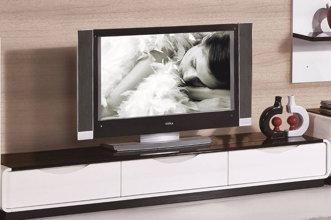 2016 Modern White And Black Tv Stand within Modern White Lacquer Tv Stands (Image 1 of 15)