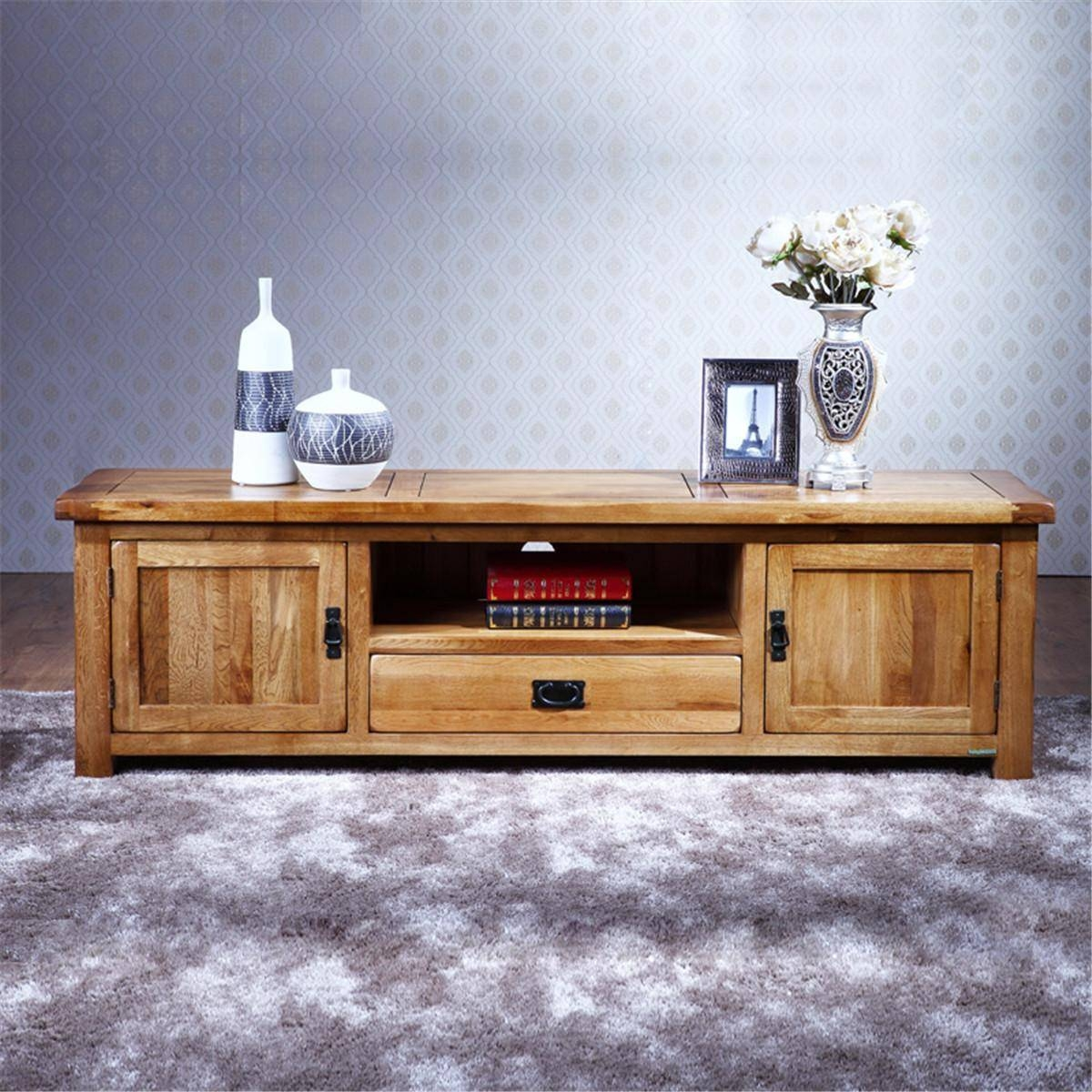 2017 100% Pure Solid Wood Tv Stand Oak Tv Stand Media Console with regard to Solid Oak Tv Cabinets (Image 1 of 15)