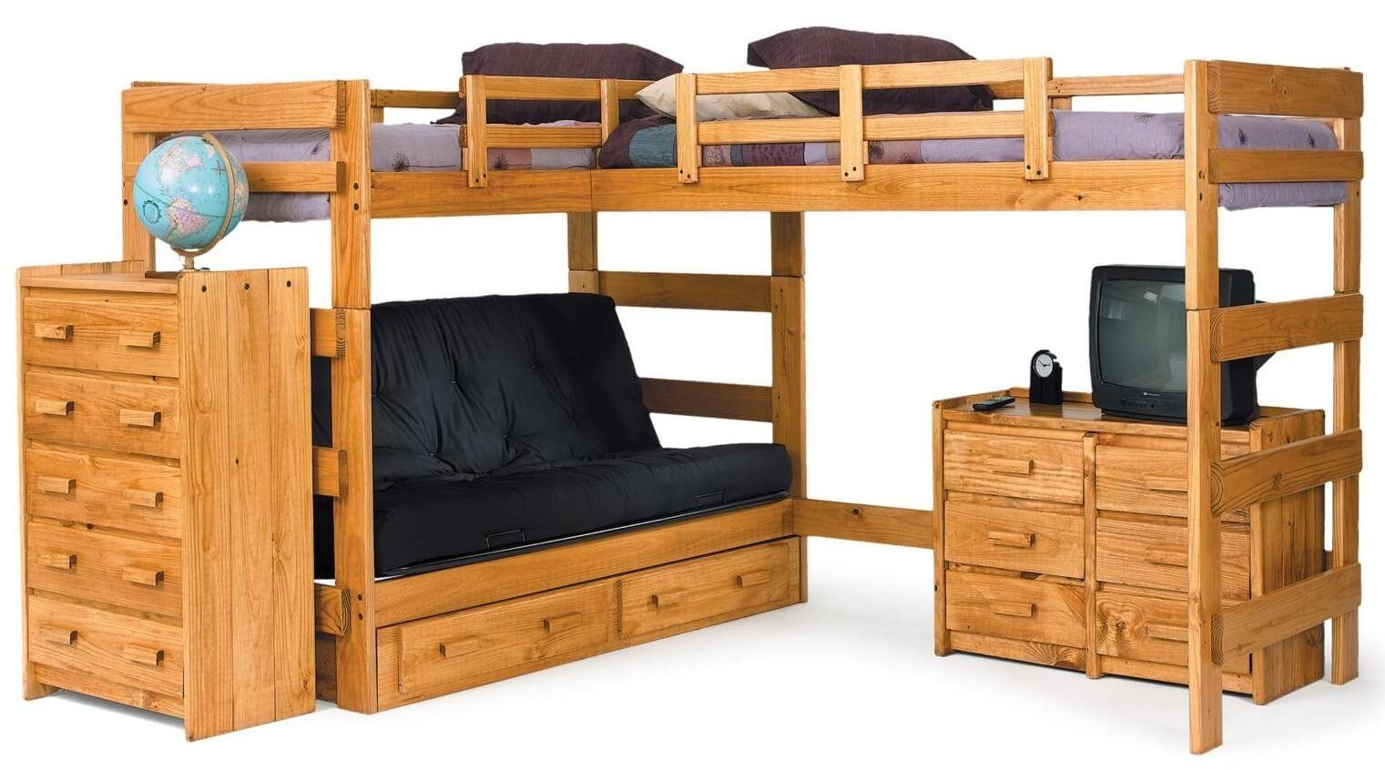 21 Top Wooden L-Shaped Bunk Beds (With Space-Saving Features) inside Bunk Bed With Sofas Underneath (Image 2 of 15)