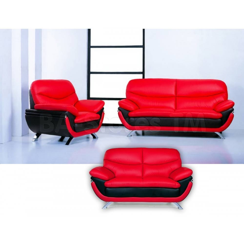$2,397.00 Jonus Living Room Set | Italian Black And Red Leather inside Black And Red Sofas (Image 1 of 15)