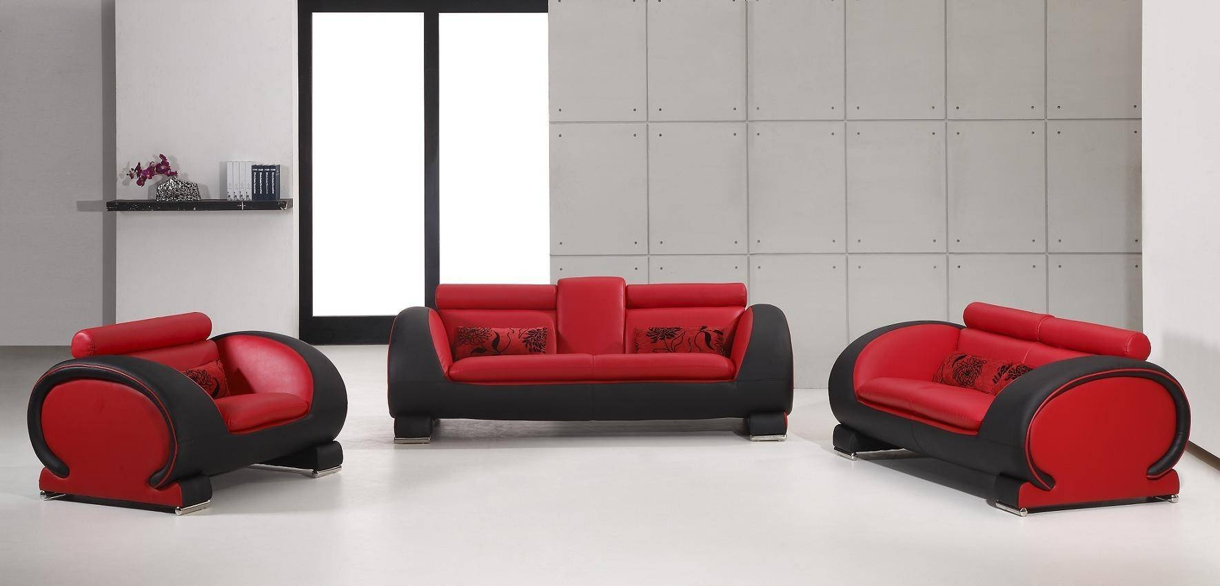 2811 Black And White Bonded Leather Sofa Set with regard to Black And Red Sofas (Image 2 of 15)