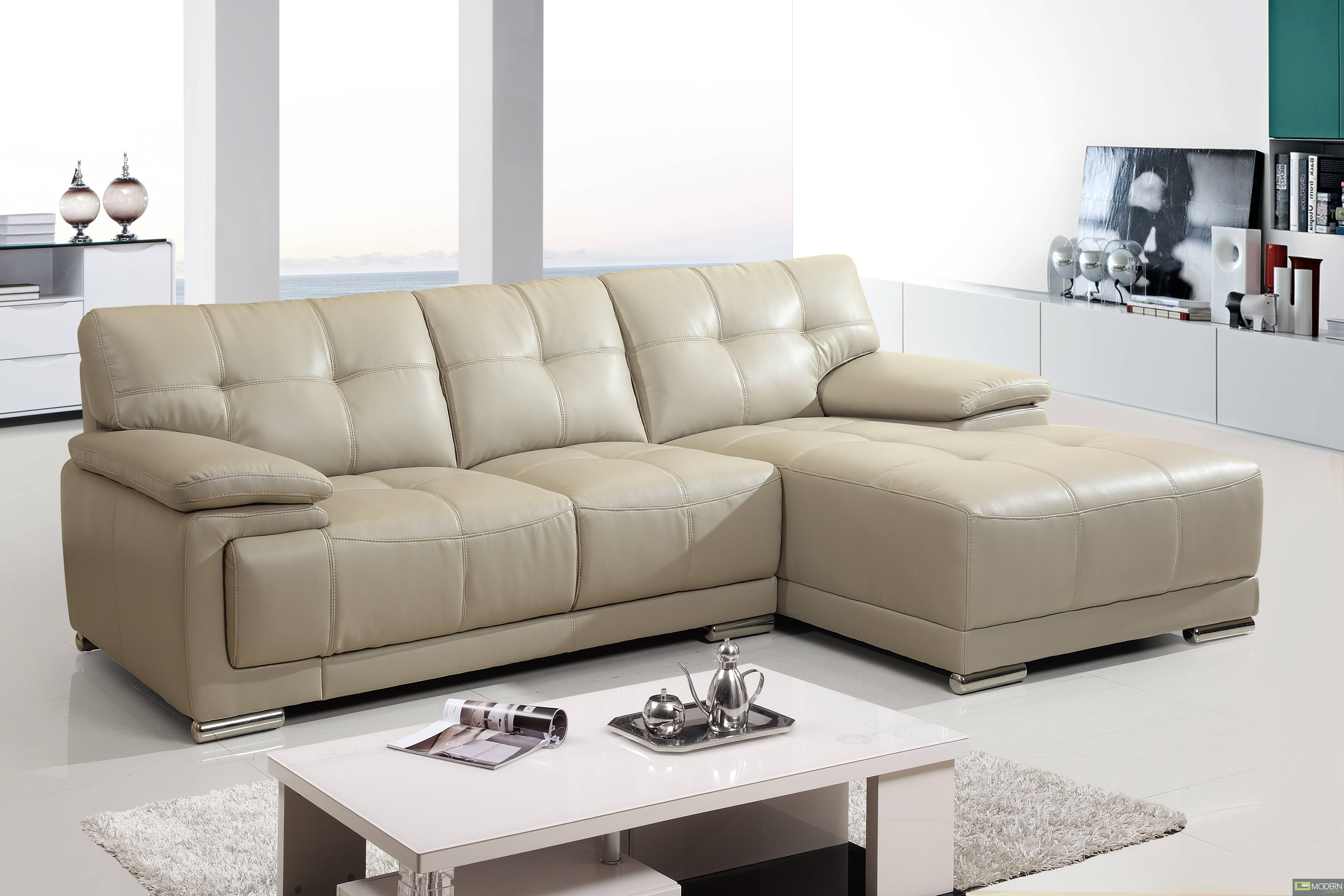 2Pc Modern Leather Sectional Sofa Living Room Couch Set Tbqs8863-4 within Cloud Sectional Sofas (Image 2 of 15)