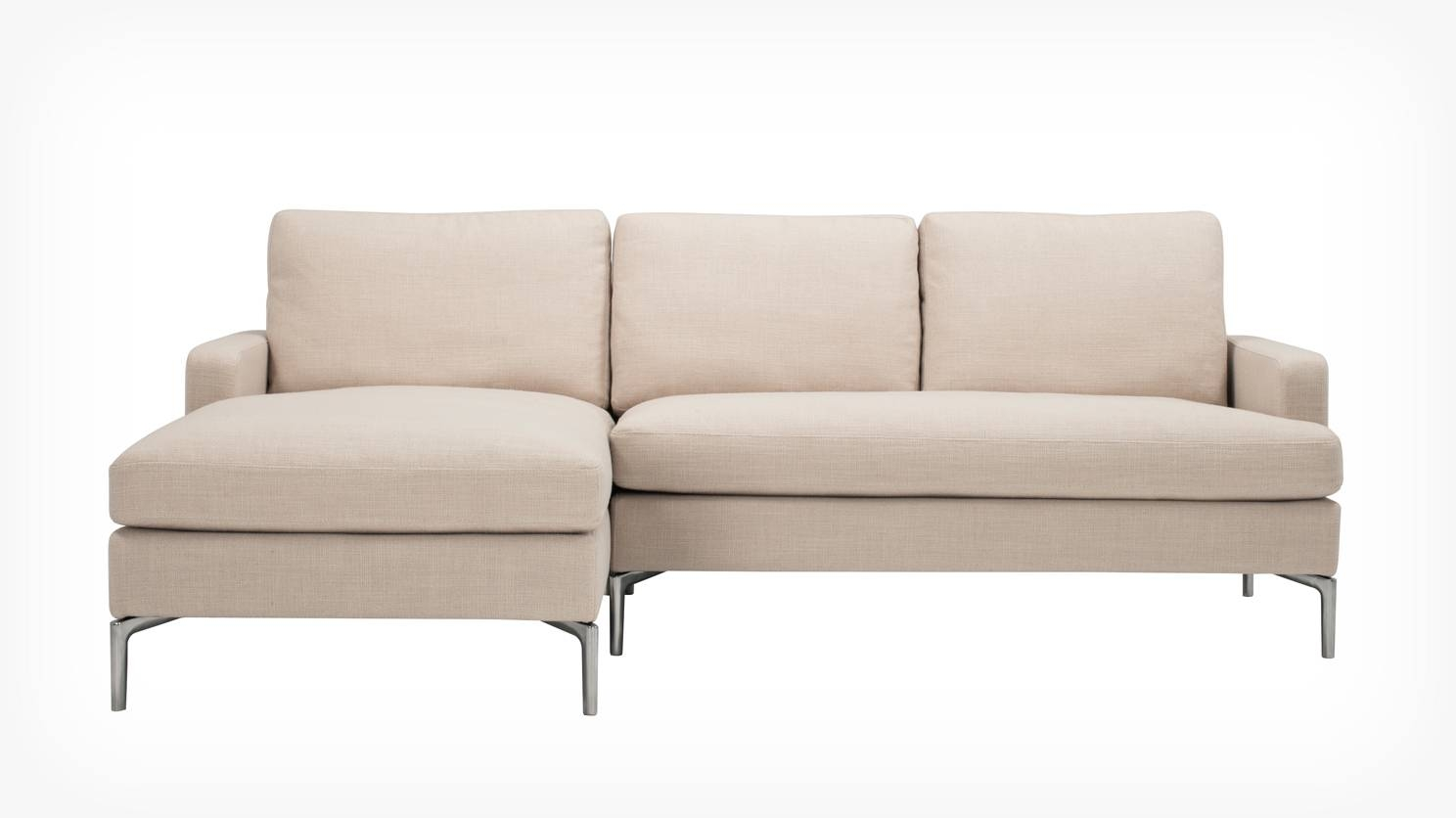 3 Pieces Small Sectional Beige Sofa With Chaise And Skinny Chrome inside Sofas With Chrome Legs (Image 1 of 15)
