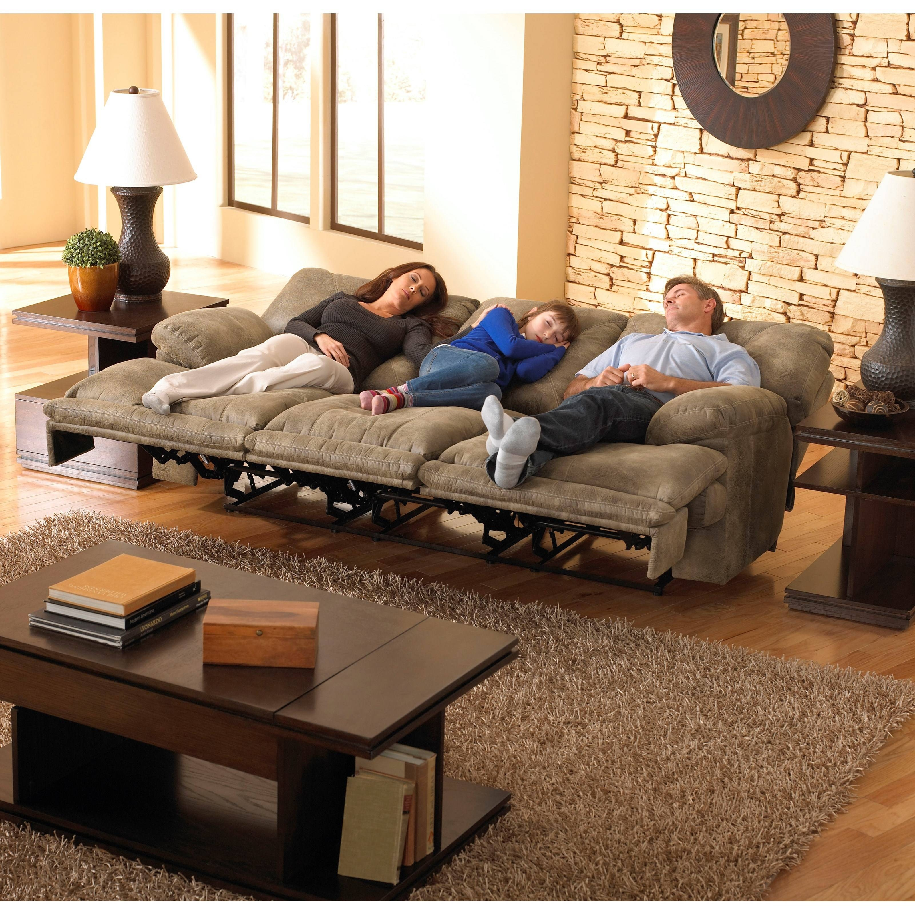 "3 Seat ""lay Flat"" Faux Leather Reclining Sofacatnapper 