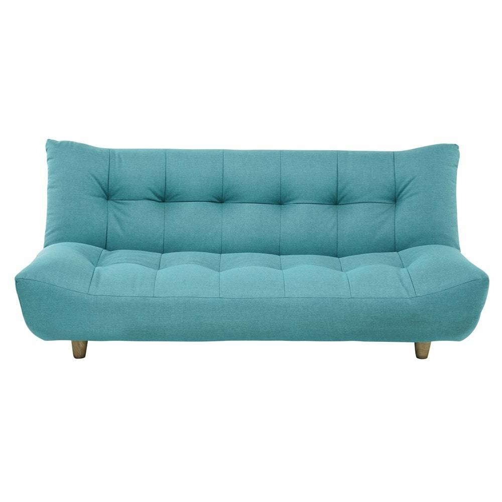 3 Seater Clic Clac Sofa Bed In Turquoise Blue Cloud | Maisons Du Monde within Clic Clac Sofa Beds (Image 1 of 15)