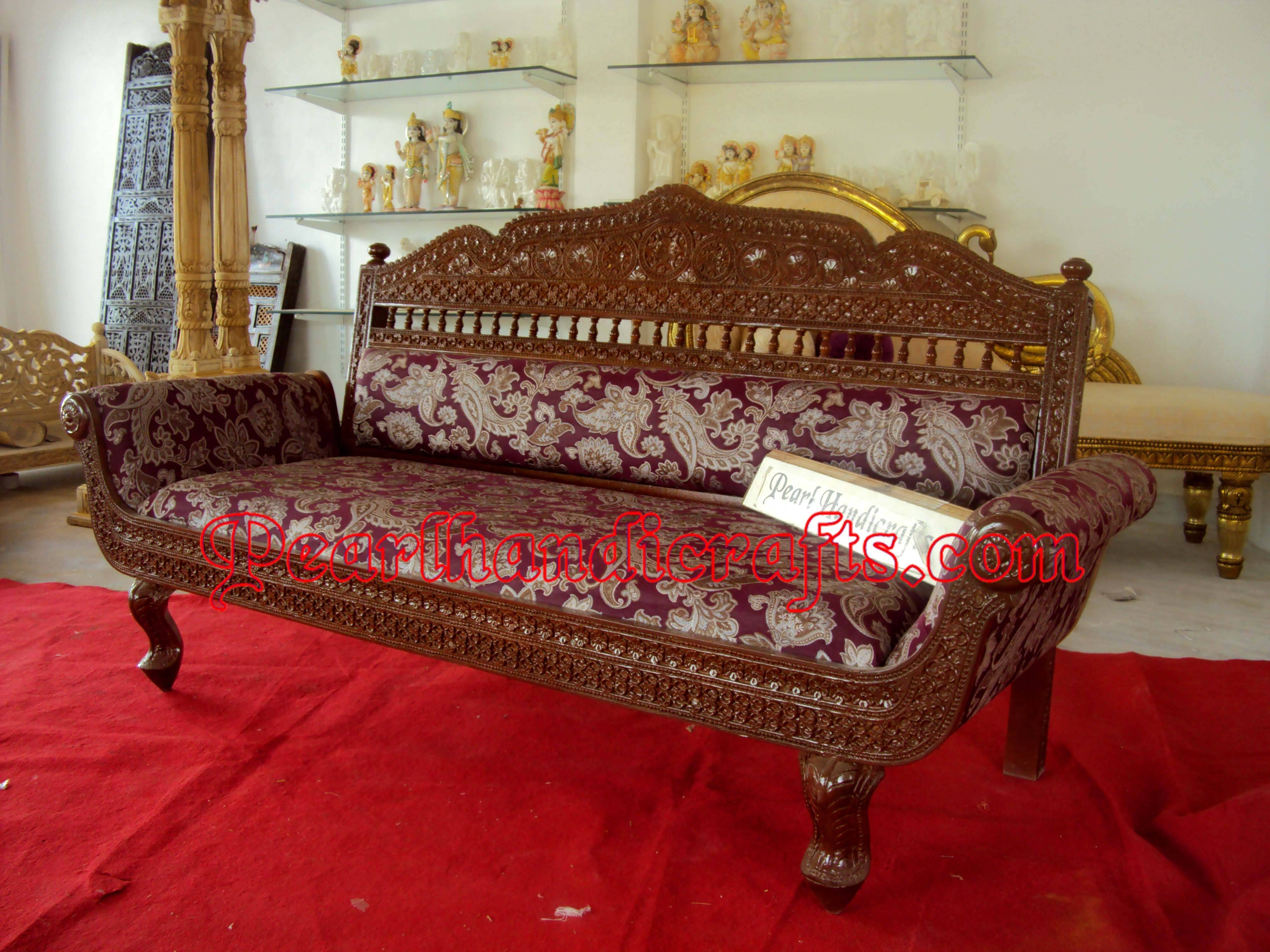 3 Seater Sofa « Traditional Living Roompearl Handicrafts For Carved Wood Sofas (View 2 of 15)