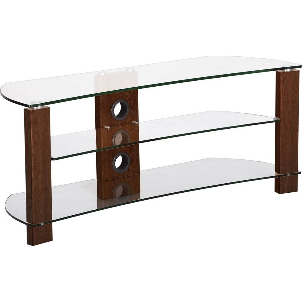 3 Shelves, Curved Clear Glass Tv Stand - Tv Stands - Brackets within Clear Glass Tv Stand (Image 1 of 15)
