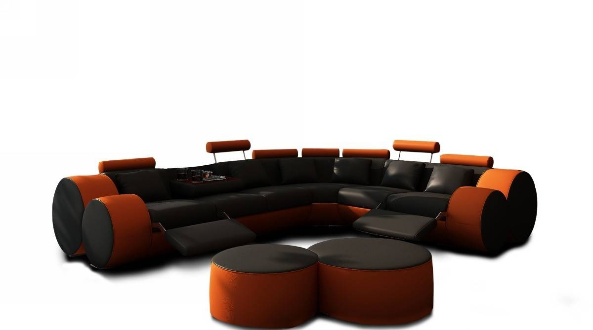 3087 Modern Black And Orange Leather Sectional Sofa And Coffee Table inside Orange Modern Sofas (Image 1 of 15)