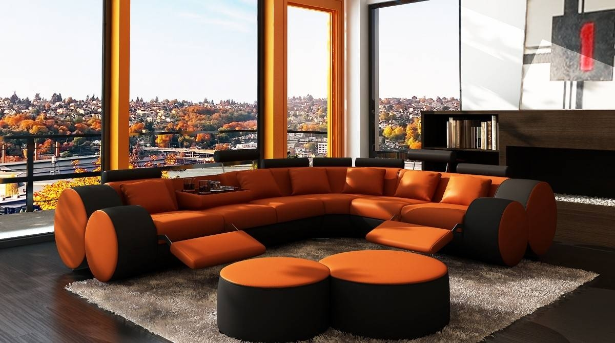 3087 Modern Orange And Black Leather Sectional Sofa And Coffee Table Pertaining To Orange Sectional Sofas (Photo 7 of 15)