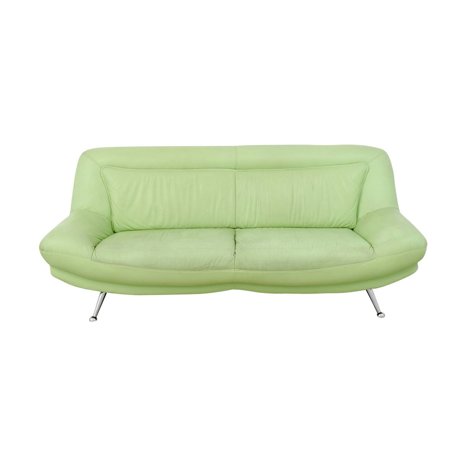 40% Off - Italian Mint Green Leather Two-Cushion Sofa / Sofas inside Mint Green Sofas (Image 2 of 15)