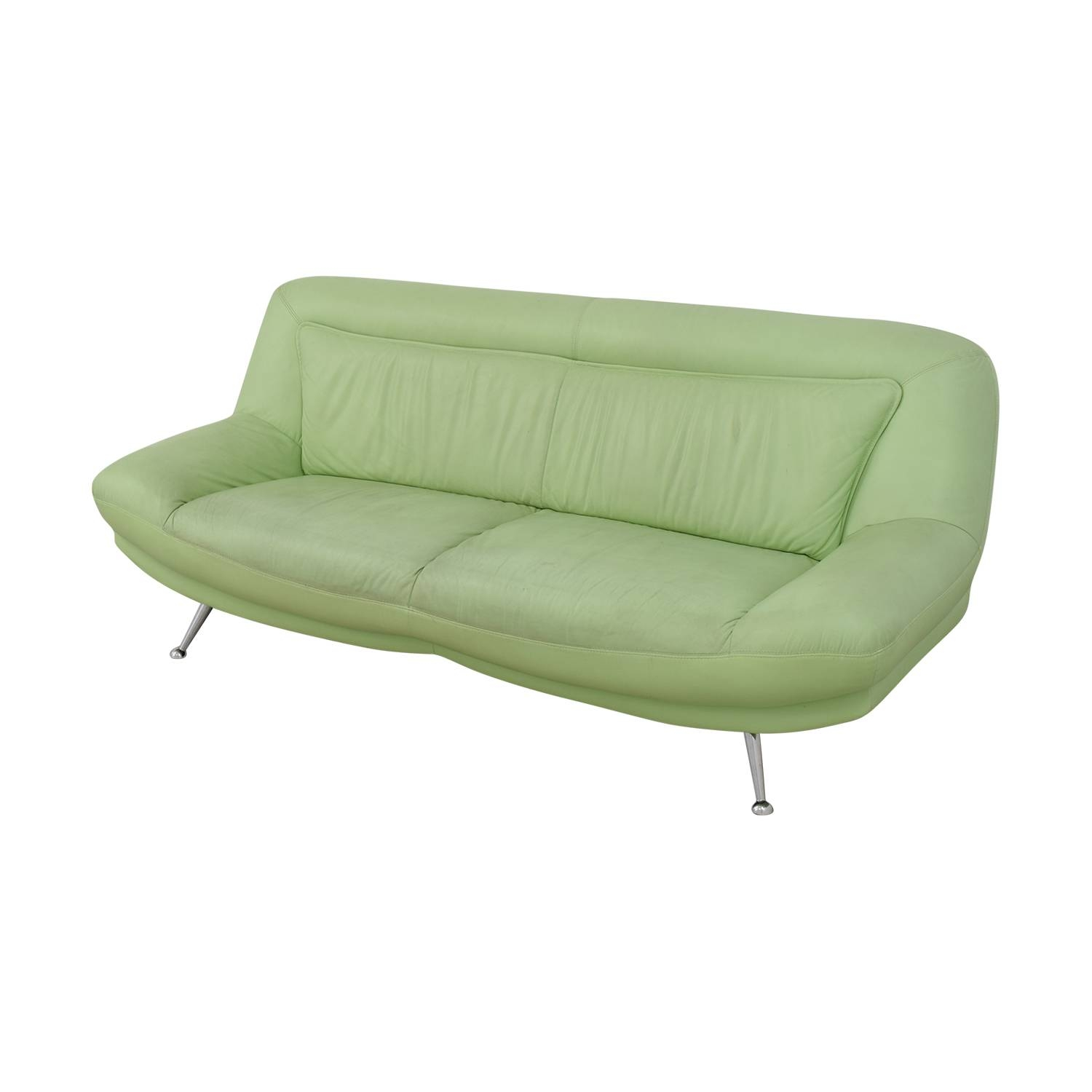 40% Off   Italian Mint Green Leather Two Cushion Sofa / Sofas With Regard