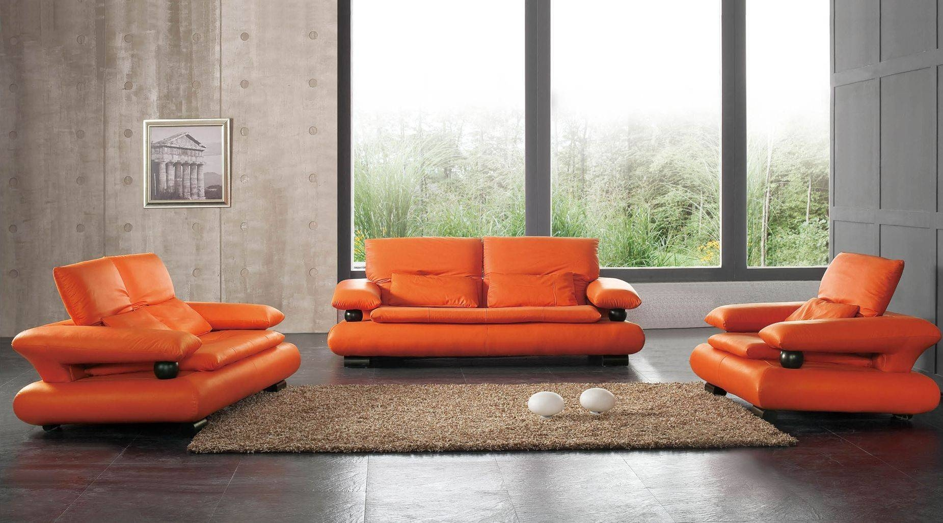 410 Leather Sofa Set For Living Rooms within Orange Modern Sofas (Image 3 of 15)