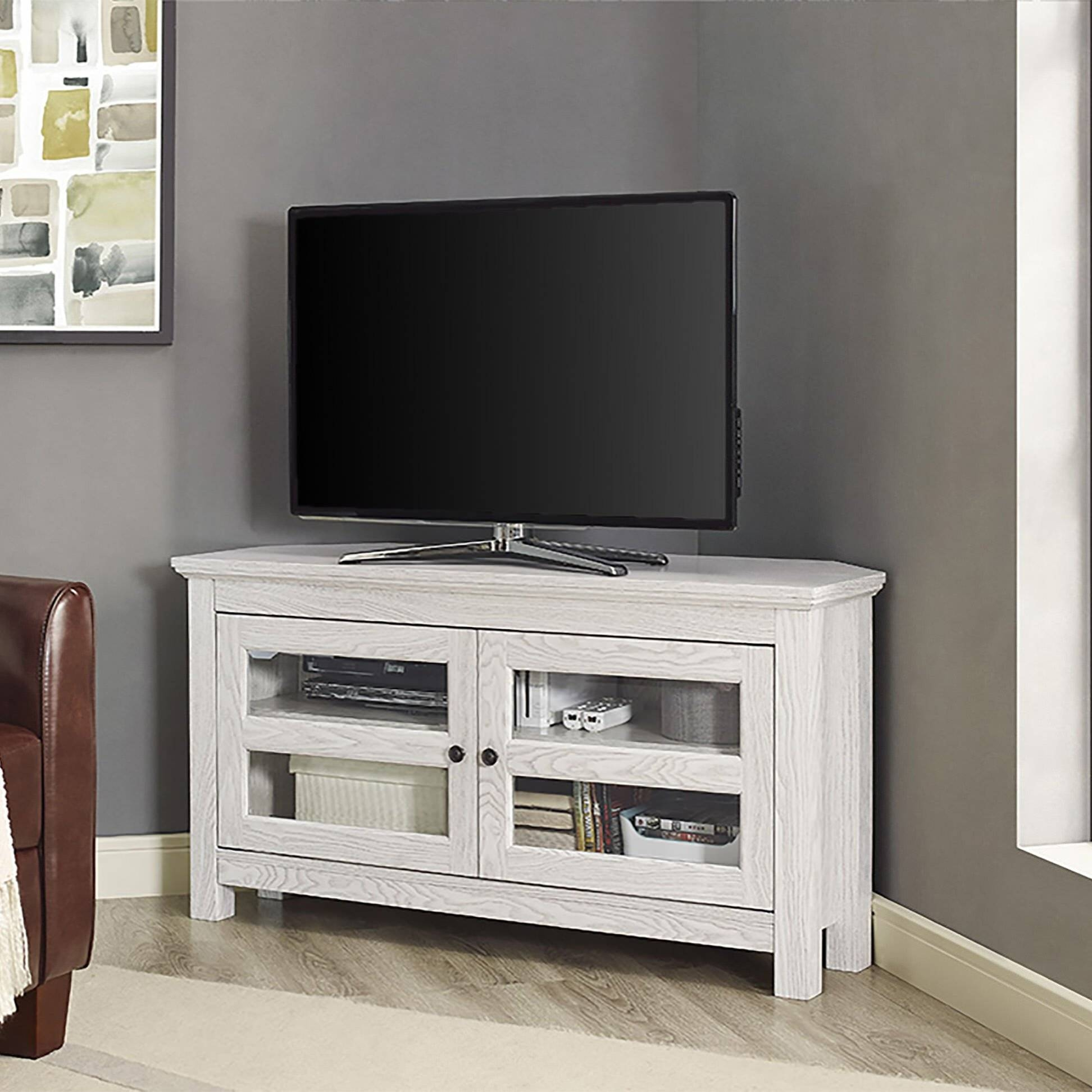 44 Inch White Wash Wood Tv Standwalker Edison with White And Wood Tv Stands (Image 1 of 15)