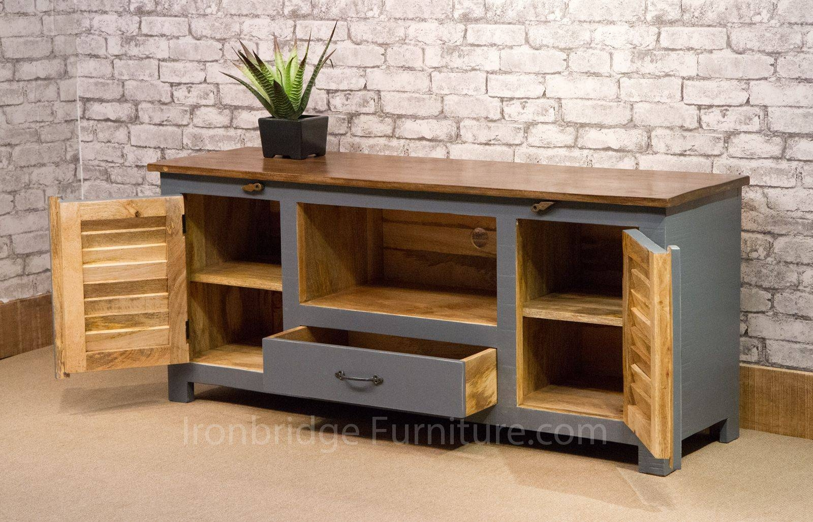 Captivating 518 Vintage Style Painted Long Tv Cabinet Dusky Grey In Vintage Style Tv  Cabinets (Photo
