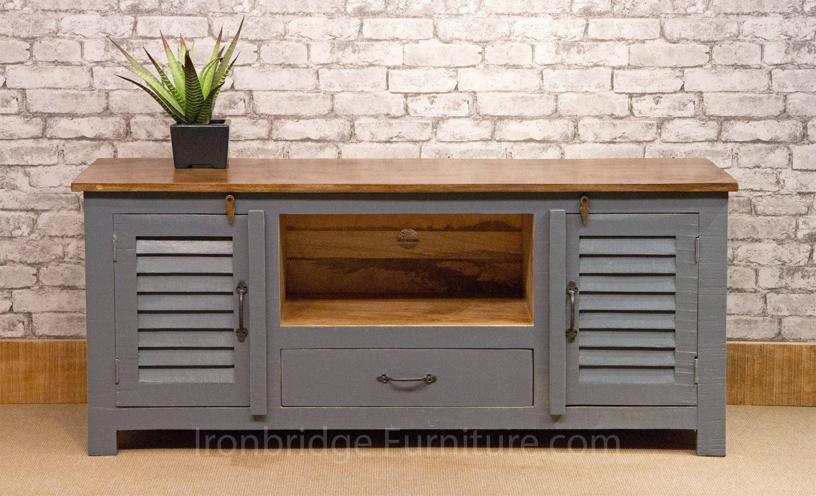 518 Vintage Style Painted Long Tv Cabinet   Dusky Grey Regarding Vintage Style Tv Cabinets (Photo 2 of 15)