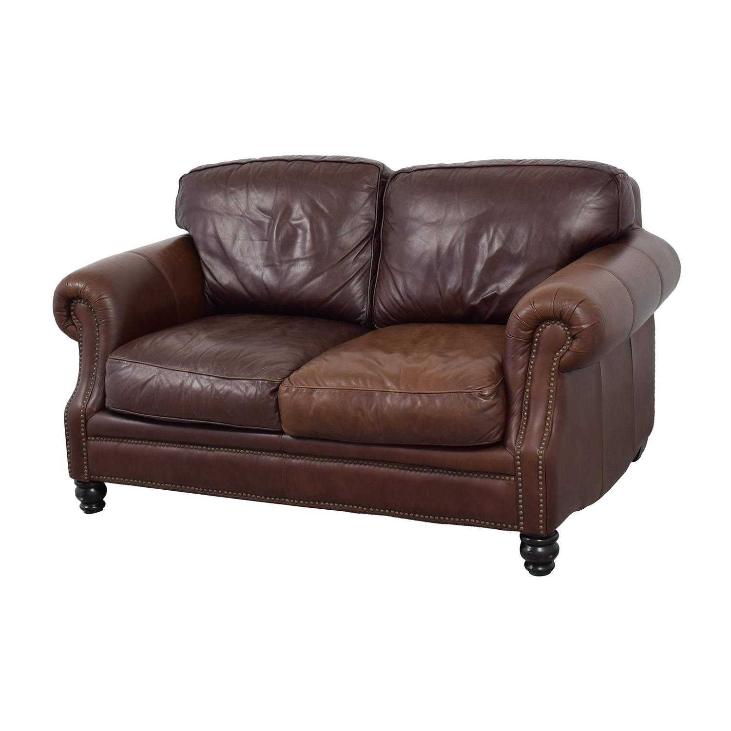 53% Off - Bloomingdale's Bloomingdale's Brown Leather Loveseat / Sofas inside Bloomingdales Sofas (Image 2 of 15)